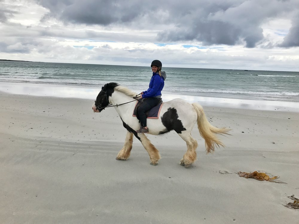 Horse riding on the beach, Road Trip Outer hebrides adventure, Challenge Sophie