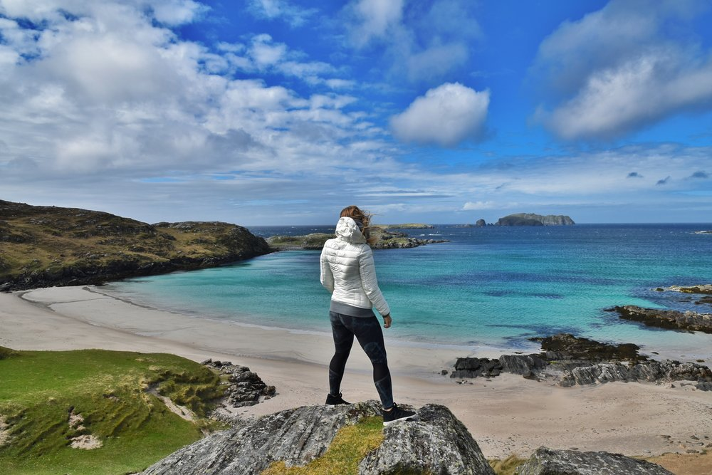 Bosta Beach road Trip Outer hebrides adventure, Challenge Sophie