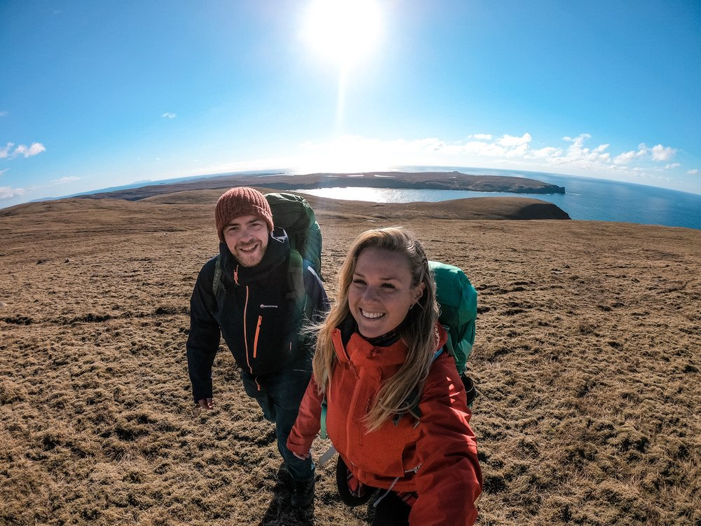 So grateful! Thank you VisitScotland, NorthLink Ferries and PromoteShetland! Alexis using the  Osprey Kestrel 68 backpack