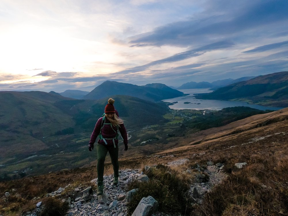 Hiking the Pap of Glencoe at sunset