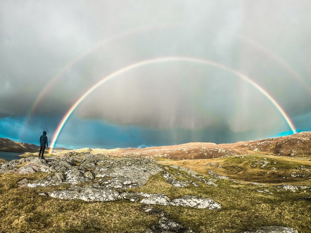 Double rainbow after a storm on the Shetland Islands