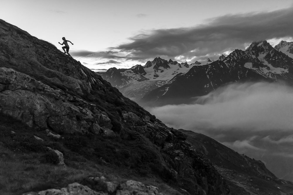 Mountain running at sunrise in Chamonix, France