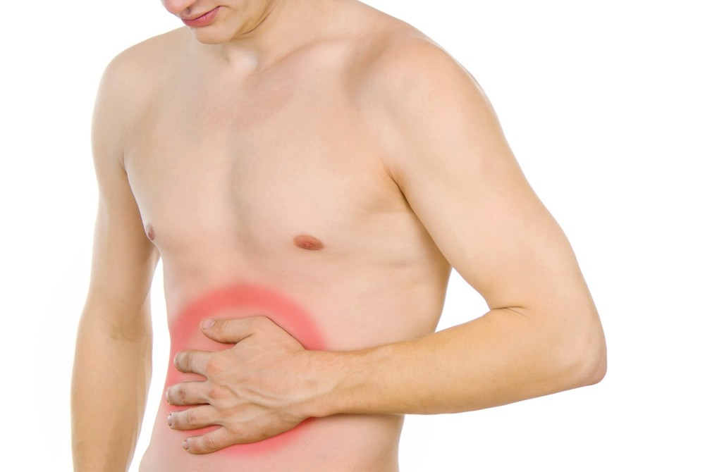 male torso, pain in the abdomen