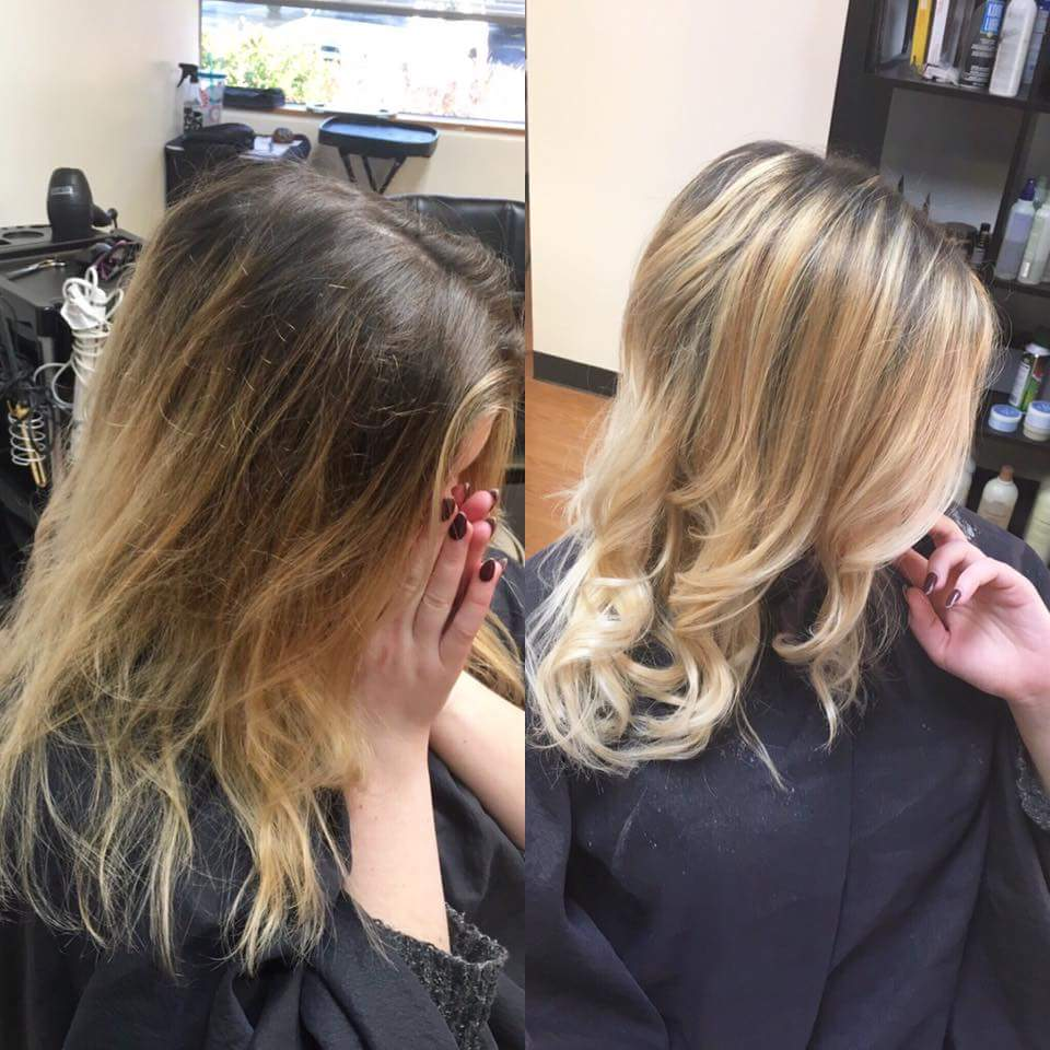 Taking a grown-out balayage and updating it with fresh dimension, lighter blonde through the ends and a nice glaze to soften the color to a beautiful buttery blonde.Done by Kara