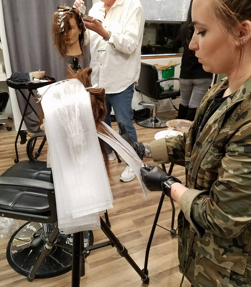 Kara practicing a new balayage technique