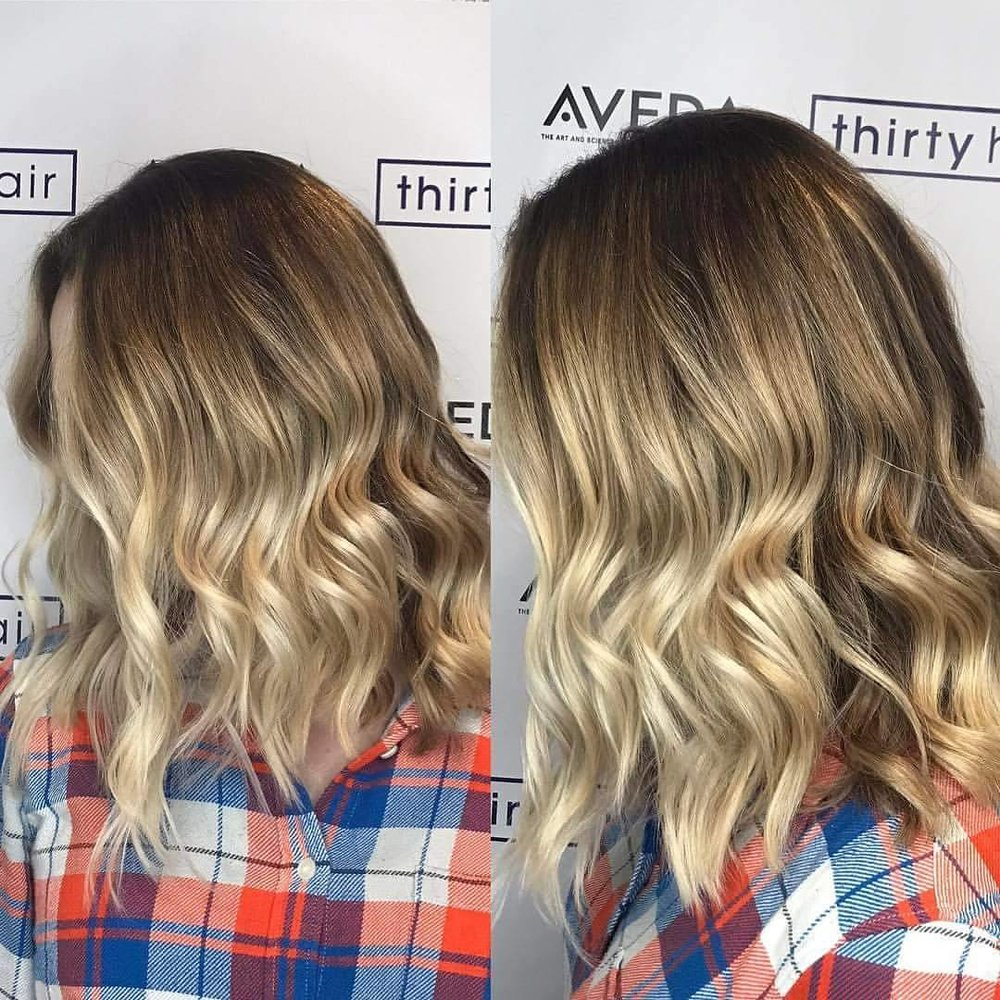 This guest chopped off 4 inches and had a heavy balayage toned to a cooler, ash blonde!