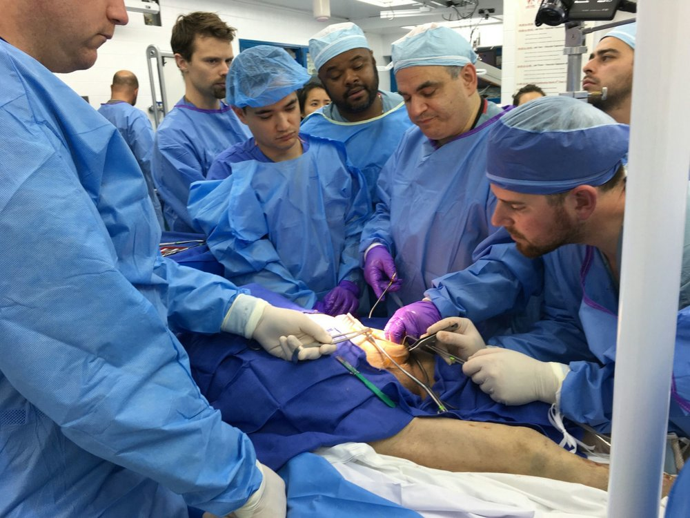 Dr. Jamie LevinE visiting Professor with the USC Plastic Surgery Residents in The Fresh Tissue Cadaver Lab