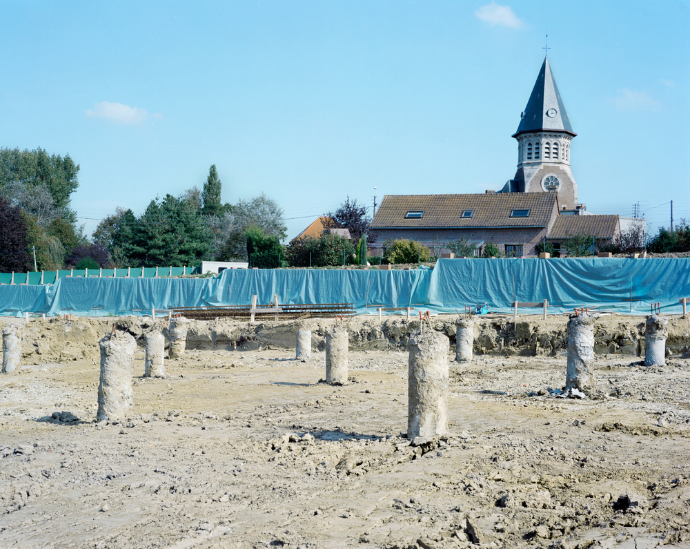 Cemetery construction - concrete and steel piles: Fromelles (Pheasant Wood) Military Cemetery, France, 2009