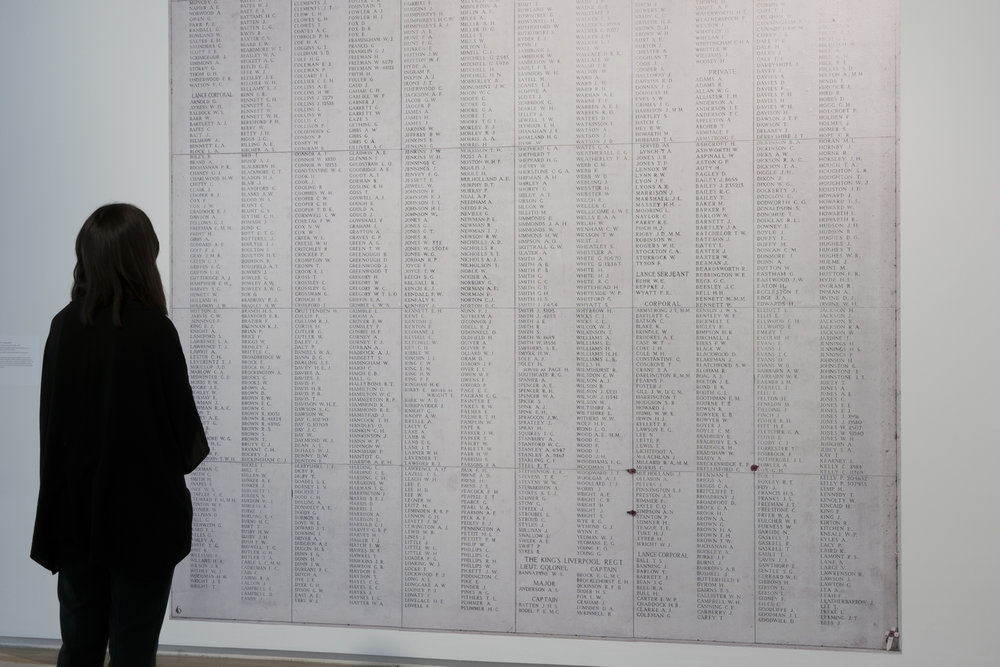 Wall piece:   54,615 Commemorated,    Ypres (Menin Gate) memorial, Belgium, 2009 6,928 WWI Canadian casualties with no known grave are commemorated, from a total of 54,615 WWI Commonwealth casualties commemorated  Vynal Print, 277cm x 350cm  Over 200 memorials around the world bear the names of the hundreds of thousands of WWI and WWII casualties who have no known grave. When bodies are found and identified, as was the case in 2009 with the Fromelles (Pheasant Wood) Military cemetery, these names are removed from the memorials and engraved upon headstones.