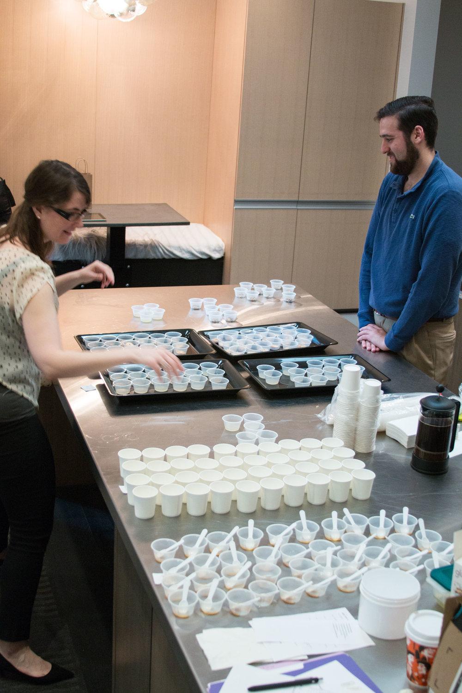 Brisan team prepping tasting samples