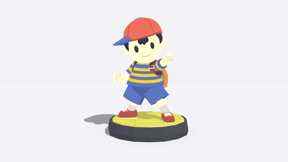 "Day 3 - ""Statue""  I looked at various statues but couldn't really decide on something I wanted to make, then I thought I should bend the rules a bit and model an Amiibo :P Normal low poly looked kinda weird so I decided to make it a shadeless model with fake lighting, didn't come out too badly :)"