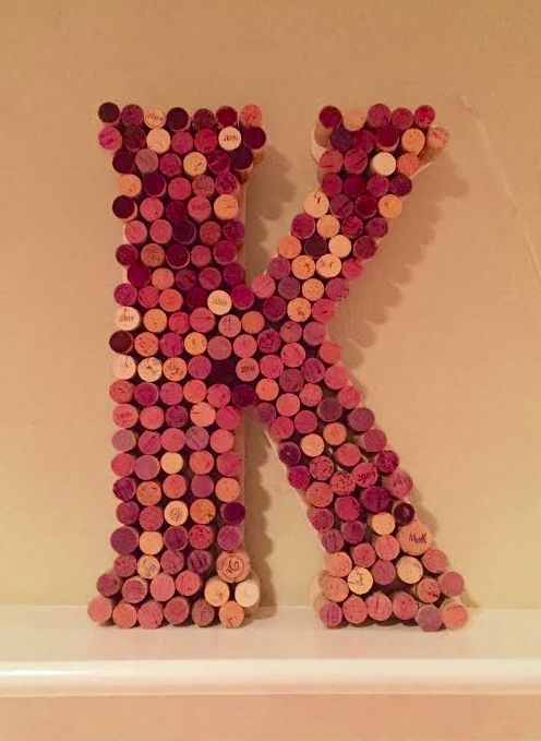 Letter using wine corks