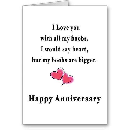 Funny Anniversary Card Boobs Big For Boyfriend Naughty