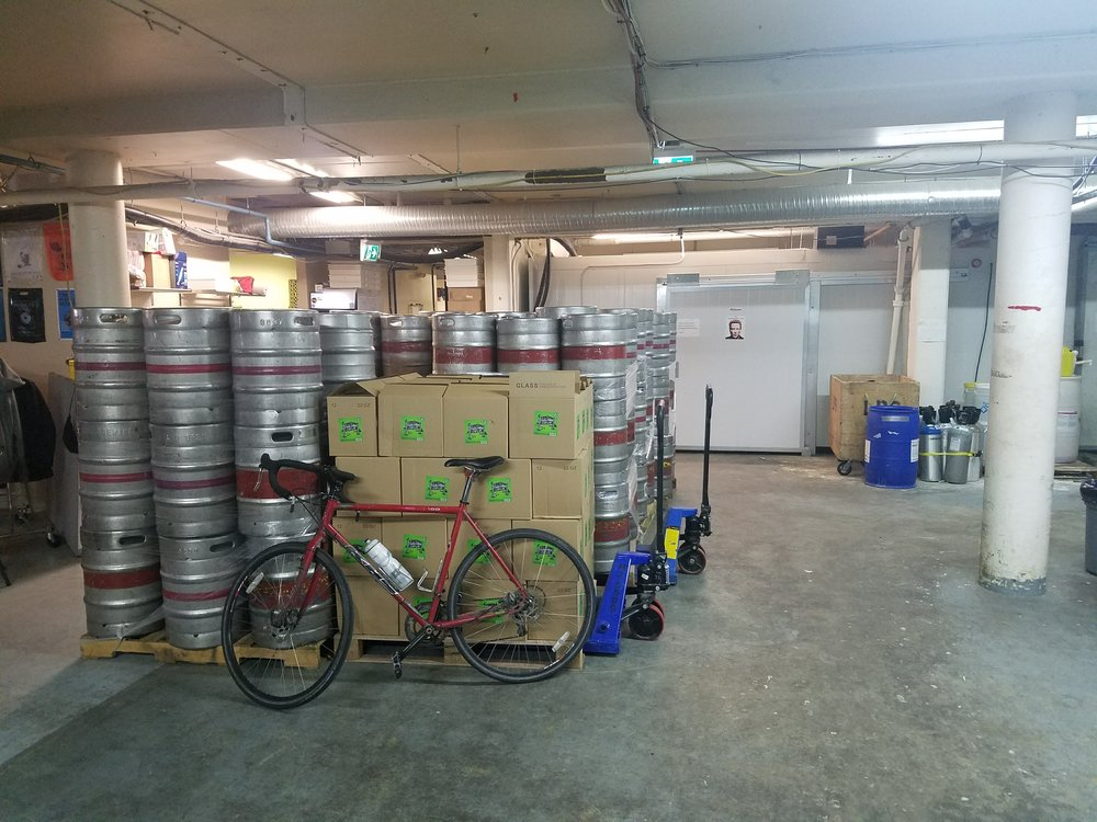 A little bit of bike parking in the back of the brewery. Someone gets it.