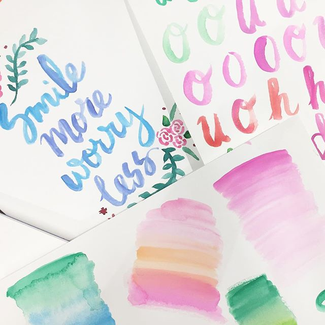 Practice will make perfect, right? 😜 Had fun at the watercolor lettering lab! #handlettering #watercolor #labmpls #macysxlab