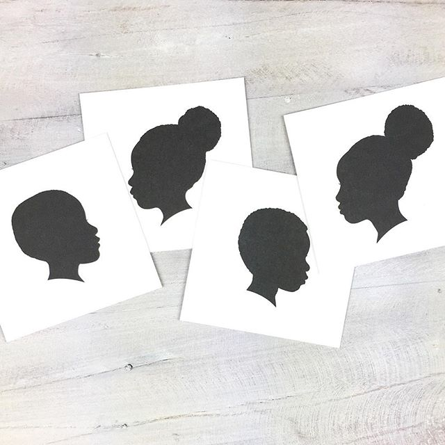 How cute is this family of silhouette prints! They are on their way to their new home. Fun fact, silhouette portraits are the very first thing I sold in my shop when I opened it back in 2010. #devondesignco