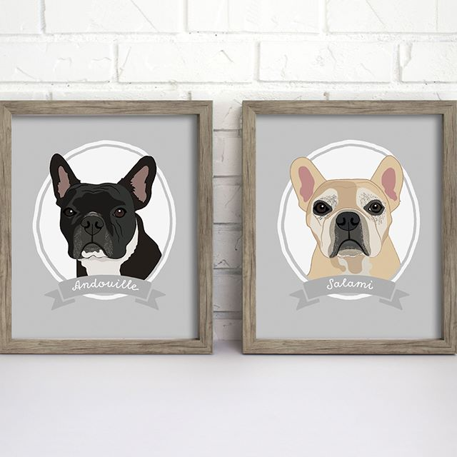 OMG. I'm such a dog lover. How cute are these Frenchies?! And their names seriously could not be any cuter, Andouille & Salami!! I had so much fun working on their illustrated portraits. Swipe left to see them in real life.
