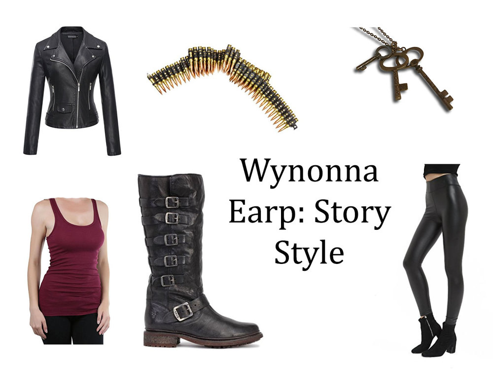 Boots// Bullet Belt // Leather Look Leggings // Leather Moto Jacket or Faux Leather Version // Burgundy tank //Key Necklace