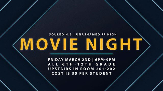 Just 3 days away till our movie night this Friday! Sign up by clicking the link in our bio and get signed up, cost is only $5. #souledhs