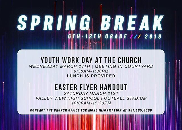 Let's face it, School is out and your bored, Be sure to get signed up for this weeks Youth Work day THIS Wednesday from 9:30Am-1:00Pm. Lunch will be provided be sure to sign up online at ccmoval.com