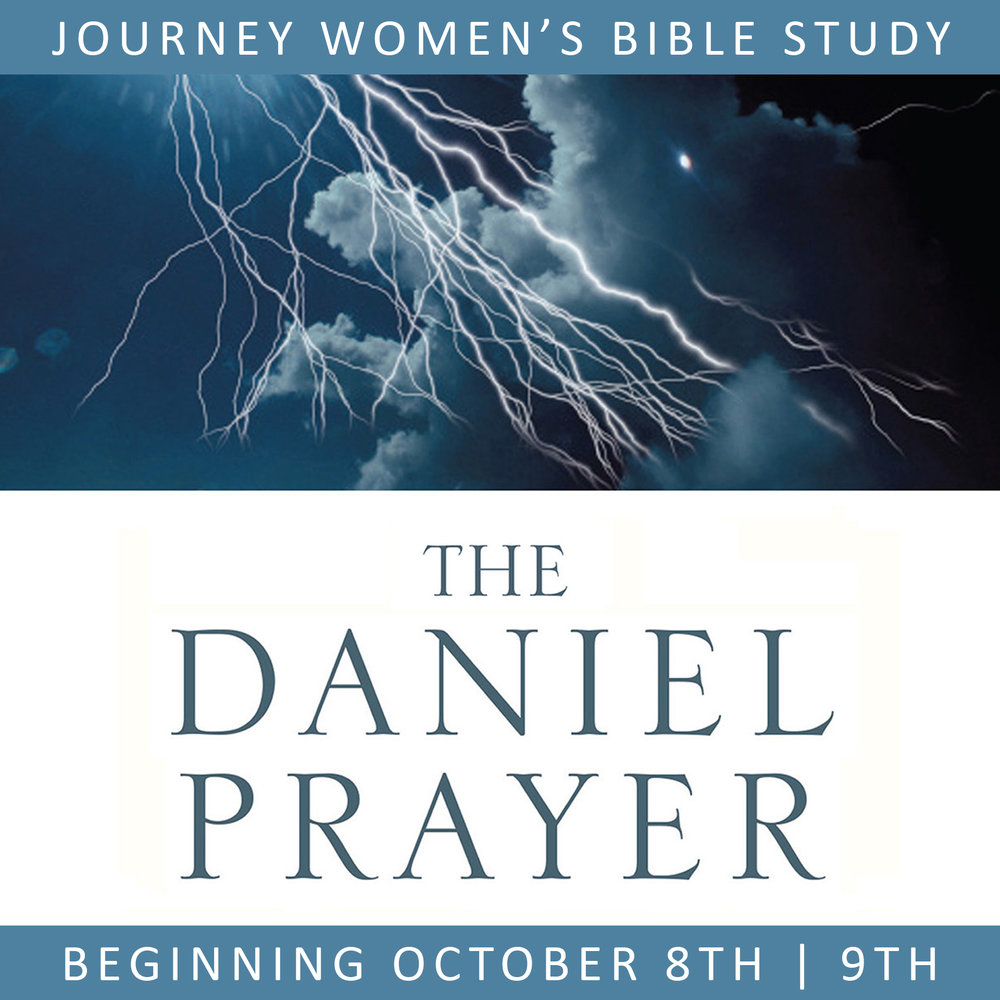 Our fall session is quickly approaching, and we hope you'll consider joining us as we jump back into Bible study! We're looking forward to spending time together as we go through Ann Graham Lotz's inductive study, The Daniel Prayer - Prayer that Move Heaven and Changes Nations. We'll be meeting in the sanctuary for the six week study beginning the week of October 8, you can choose from either Monday evenings at 7 PM, or Tuesday mornings at 9:30 AM. Cost is $15 for your workbook, you can sign up online, in the church office, or at the activities table. We're so sorry, Childcare will not be provided at this time