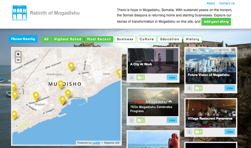 The site rebirthofmogadishu.com served as a virtual repository for videos, images, journalism, and stories to be shared by anyone witnessing the Mogadishu reconstruction. It particularly targeted young Somalis in the UK and EU, who were curious about the stories they heard of their homeland and sought to receive or provide evidence of change.