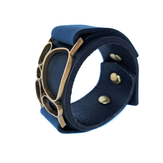 River Rock Bracelet - Blue Nubuck on Black
