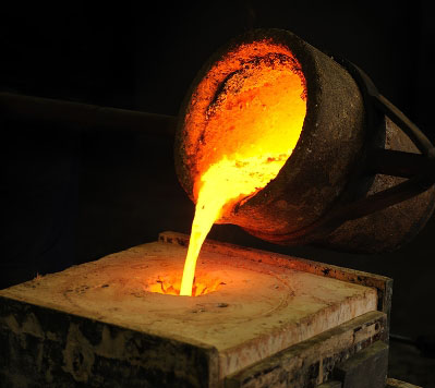 Pouring Molten Metal for Casting