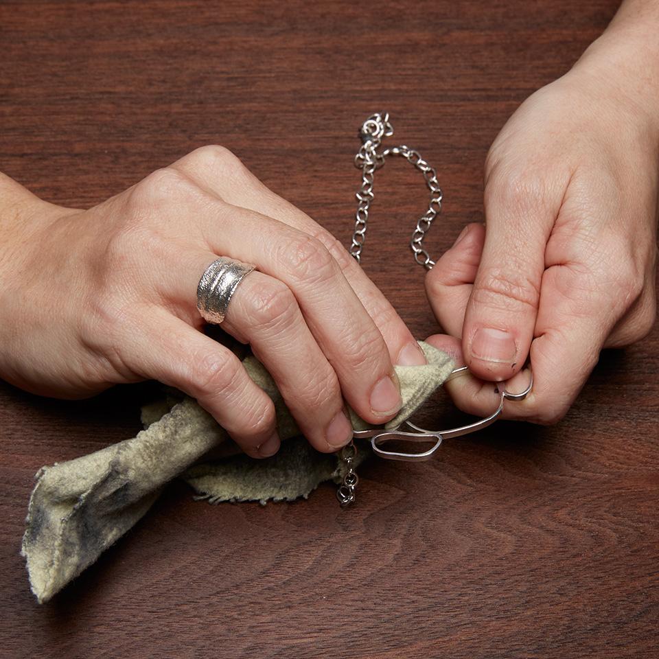 Polishing River Rock Collarbone in Sterling Silver - M•Spring Studio