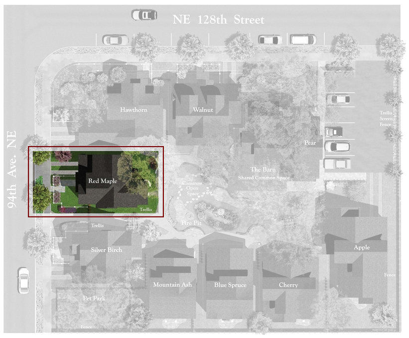 Juanita Farmhouse Cottages Site Plan | The Red Maple Cottage