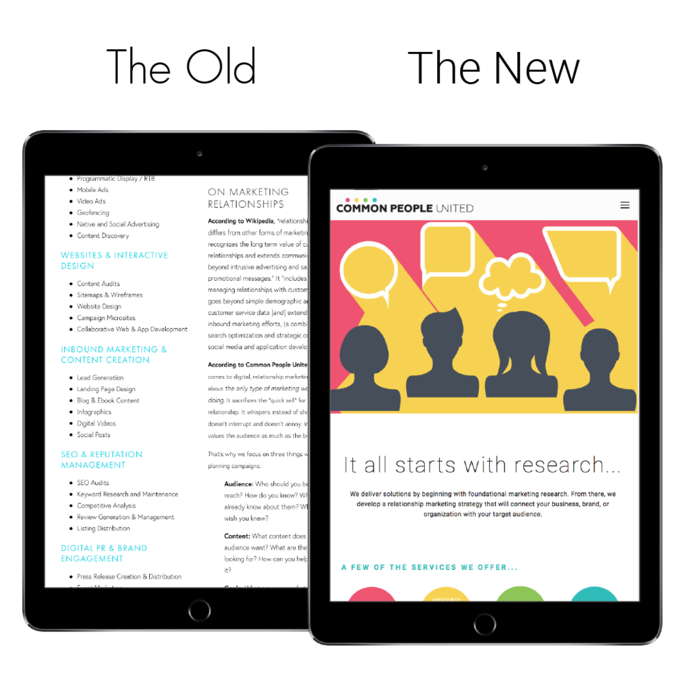 Responsive website redesign iPad