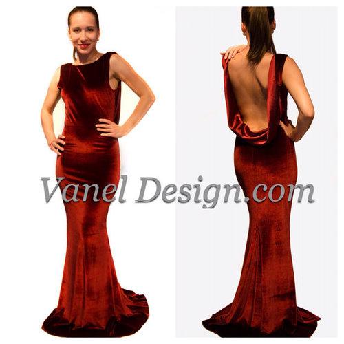 Red Open Back Mermaid Dress Velvet Open Back Mermaid Dress