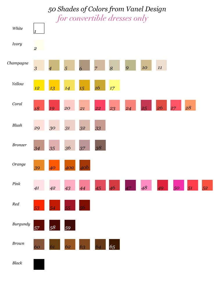 Color Chart For Convertible Dresses Vanel Design