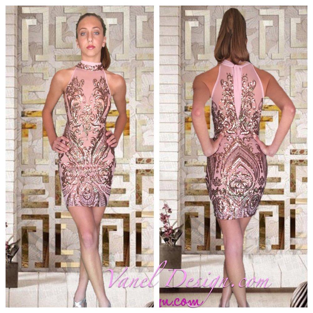 Pink Short Sequin Dress