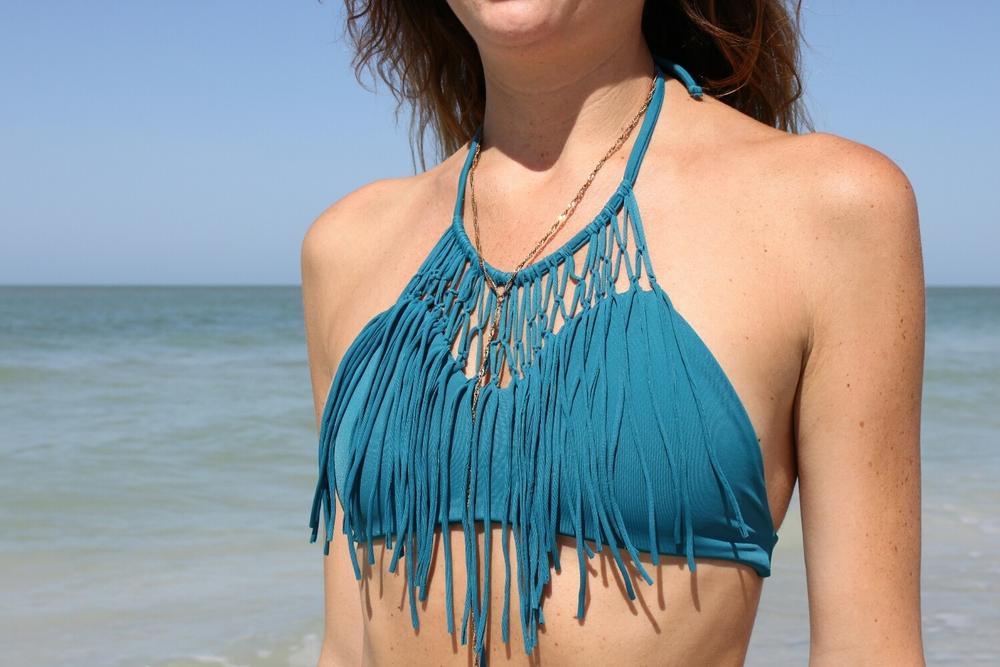 """Antigua"" fringe bikini top"