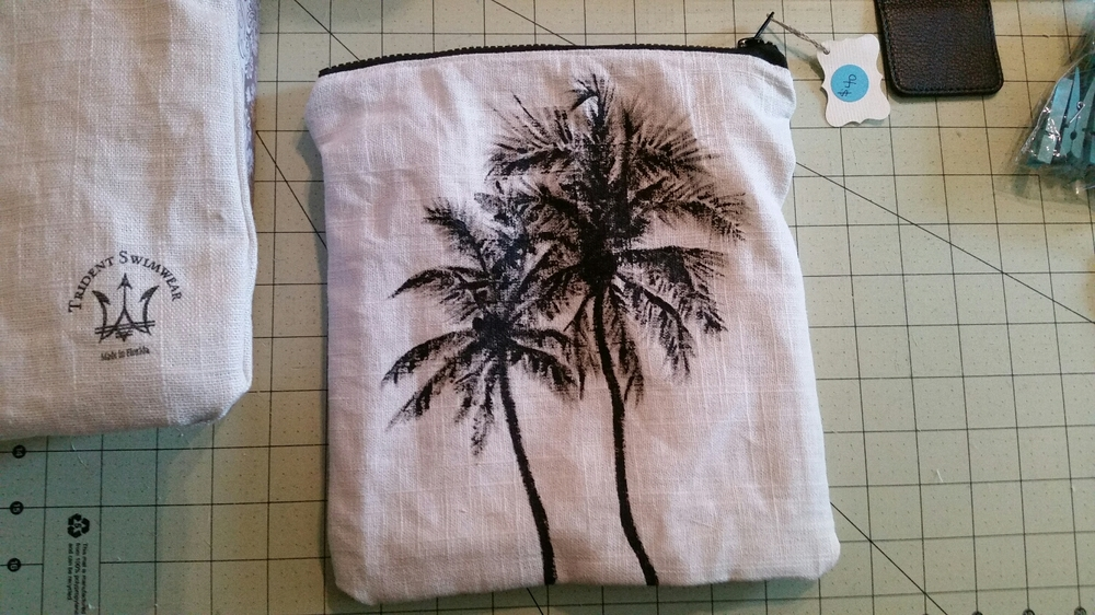 Hand painted palm tree bag
