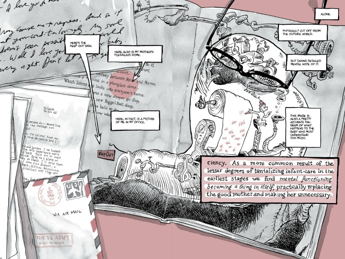 Bechdel's found-object drawing juxtaposes several layer and types of text and commentary in a single image. I'm so awe-struck by her style and how she uses it to illustrate the process of critical and psychological analysis. Ugh, I wish I was still teaching so I could use this in a class.