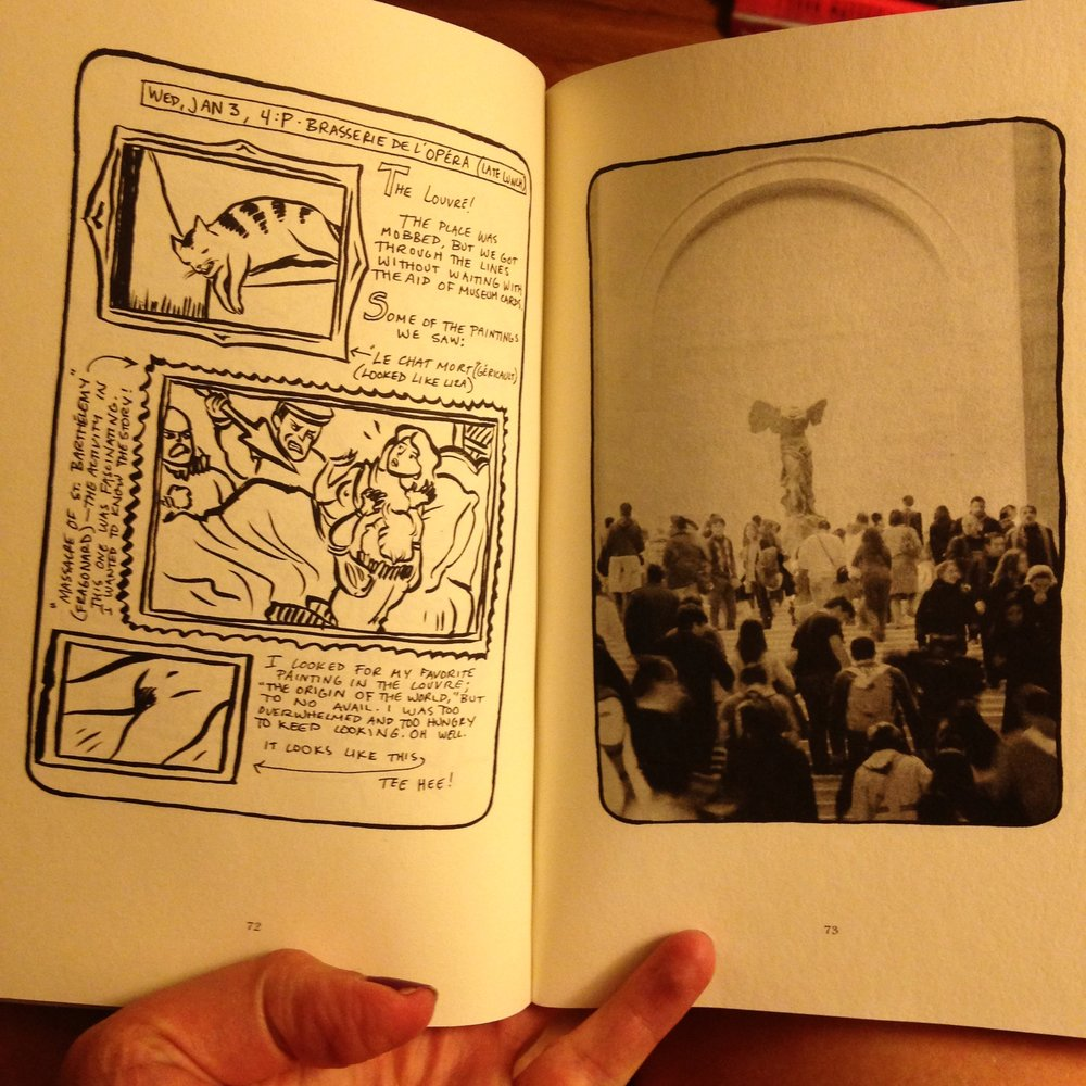 Not a great photo, but I thought it might be helpful to show what Lucy Knisley's book looks like. It's a kind of scrapbook, with photos and drawings and text. Here's a page where she visits the Louvre.