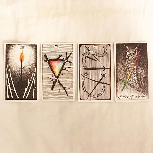 #theoctobertarot, Day 18: The Craft  The pairing of two wands cards on one side and two swords on the other seems to indicate a dichotomy between passion/energy on the one hand and a need for rationality/intellect on the other. This series suggests a story about a bright inspiration for the future coming at the risk of isolation and conflict, with a need for perception and reasoned decision making to avoid self-destruction in pursuing this new possibility. I dig it. (But maybe there's also some kind of magic/energy in self-destruction?) —— Now is the time / Seven of Wands / courage, inner strength; you may feel overwhelmed, but your inner fire will light the way This is the hour / Three of Wands / envisioning the future; rely on yourself for guidance, because only you can see where you're going This is the magic / Five of Swords / self-destruction, or feeling like it's you against everyone else; a coming struggle, pick your battles This is the power / Father of Swords / clear thinking, intellectual power, an objective and analytical approach