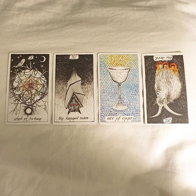 #theoctobertarot, Day 28  Took an accidental skip day yesterday but who's counting. Today's cards basically feel like they were channeled through my therapist... —— In perfect love / Wheel of Fortune / destiny, fate, good fortune and the rules of karma  In perfect trust / The Hanged Man / surrender, letting go, new perspectives (feeling stuck or restricted) Harm none / Ace of Cups / compassion, emotional openness, new friendships Do as ye must / The Devil, reversed / releasing limiting beliefs, exploring dark thoughts, eliminating harmful things; the threshold of revelation
