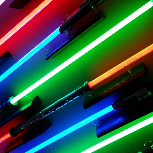 FX Lightsabers on display in the Treasure Room.