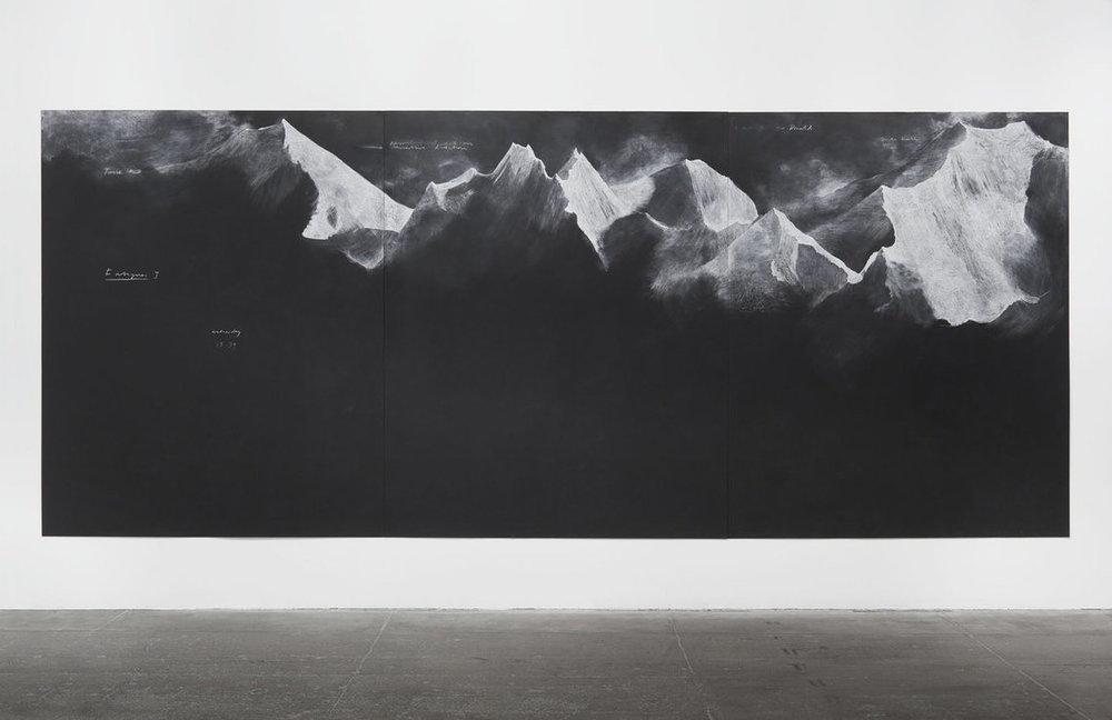 Tacita Dean, 2012, chalk on blackboard, Fatigues E - 229.8 x 556 cm.