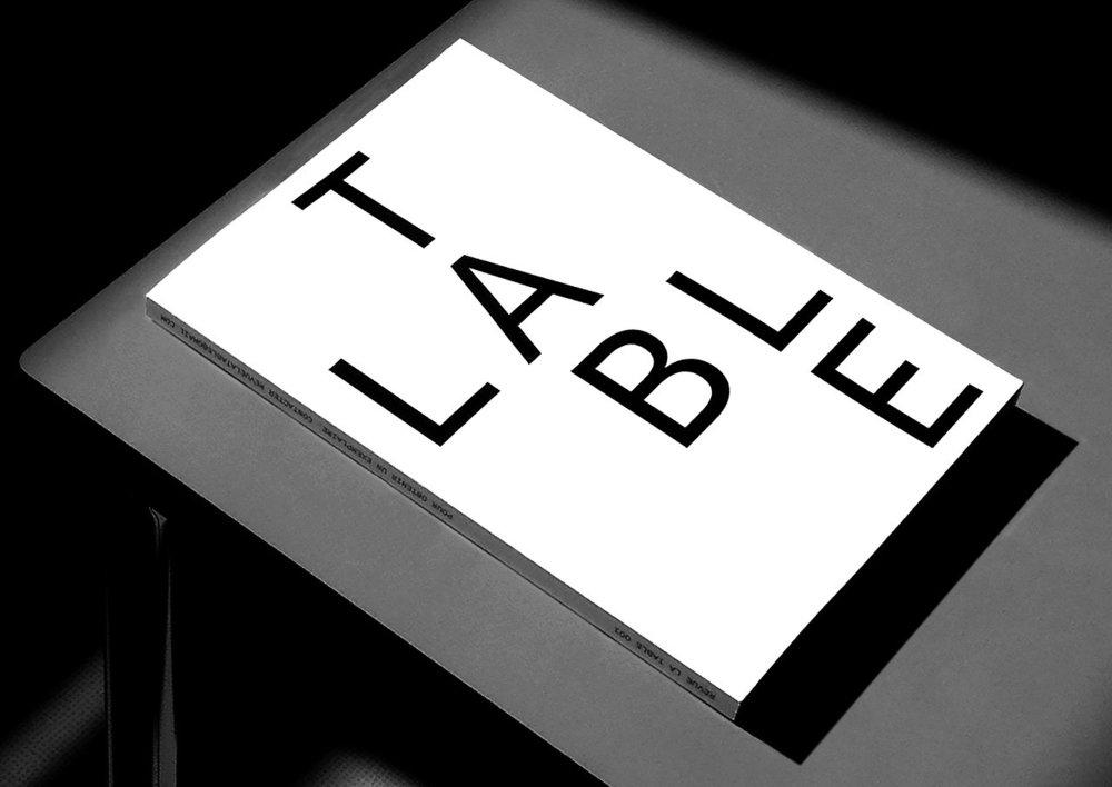 Revue La Table, nº001 • A4 210 × 297 mm, noir et blanc, 200 pages