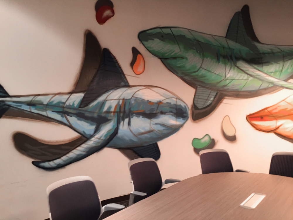 The Jelly Bean Room at Communitech, so named for its shape, jar of jelly beans, and, uh, sharks?