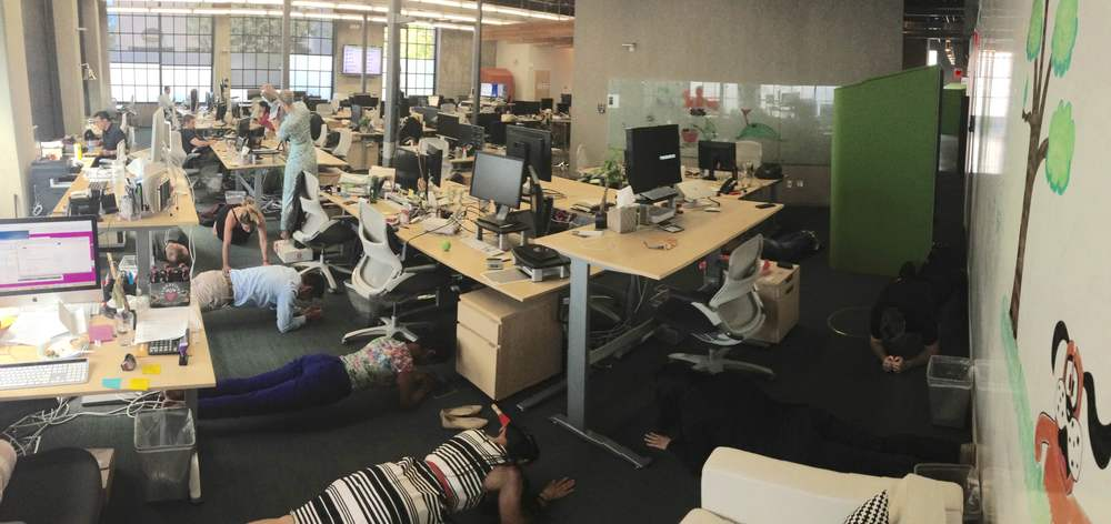 A team from MongoDB planking during their daily meeting. If your teams daily standup meetings ramble on, try this! Here are the rules.