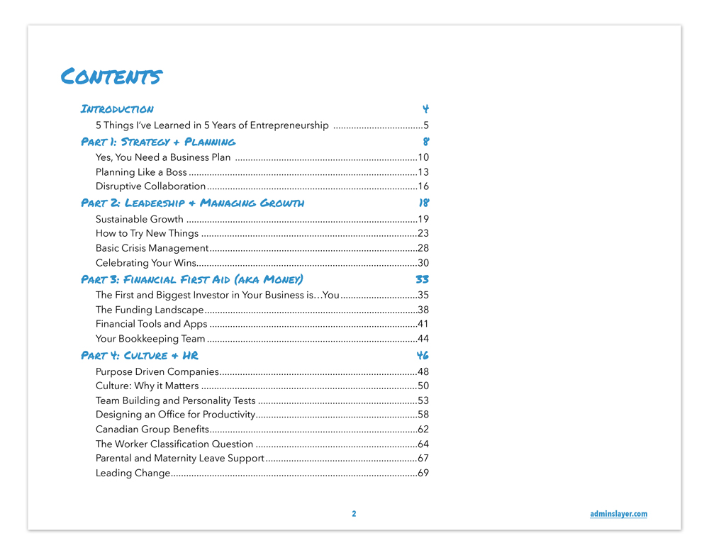 Entrepreneur Survival Guide Table of Contents