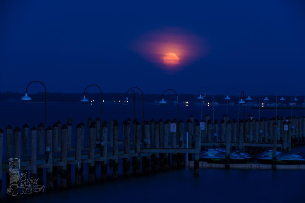 Moon Setting Over Rehoboth Bay