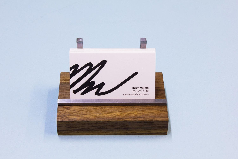 Walnut and Steel Business Card Holder — Meisch Made