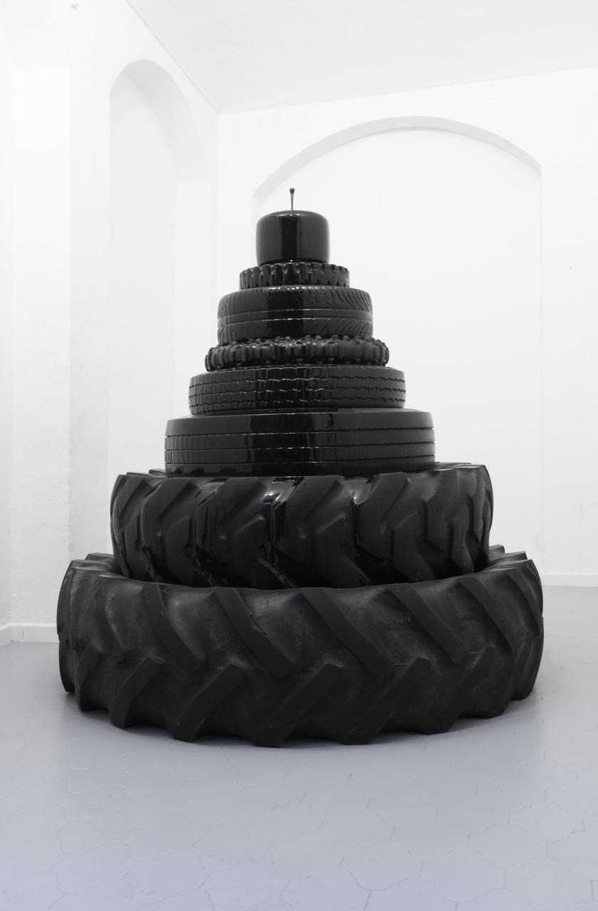 2009 Tires, pump, oil, wire    72 7/8 x 70 7/8 inches (185 x 180 cm)