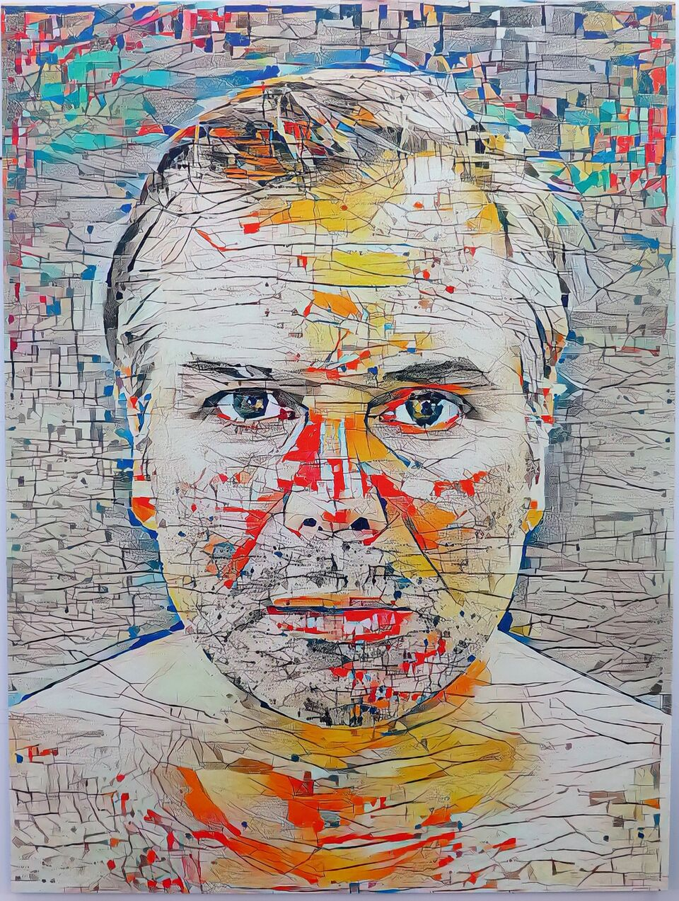 Artificial Intelligence Style Transfer Self-Portrait (Julie Mehretu & My Face)